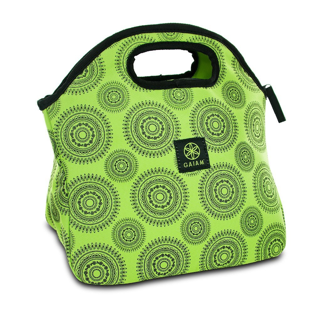 Lunch Bags, Reusable Green Marrakesh Fabric Insulated Women Men Tote Lunch Bag
