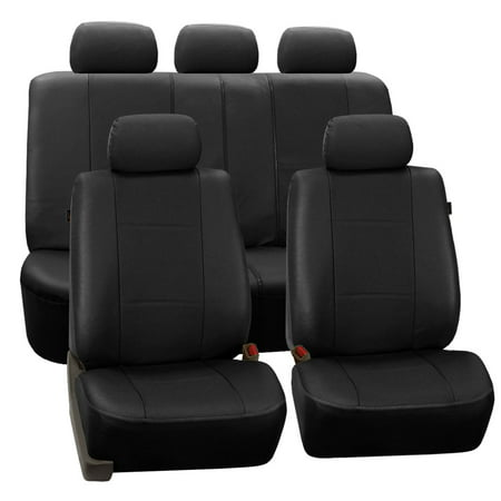 Subaru Impreza Car Seat Covers (FH Group Black Deluxe Faux Leather Airbag Compatible and Split Bench Car Seat Covers, Full Set )