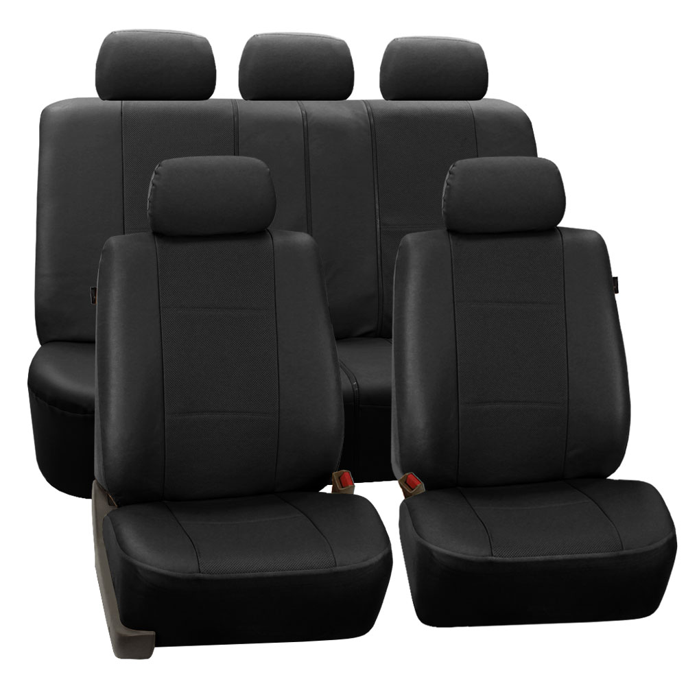 FH Group Black Deluxe Faux Leather Airbag Compatible and Split Bench Car Seat Covers, Full Set