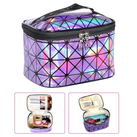 Travel Cosmetic Bag, Makeup Oil Case Pouch Jewelry Organizer for Women, Portable Multifunction Case Toiletry PU Leather Bags (Purple)