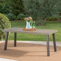 Kaia Outdoor Acacia Wood Dining Table with Metal Legs, Gray Finish