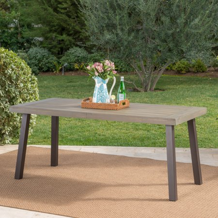 Kaia Outdoor Acacia Wood Dining Table with Metal Legs, Gray Finish ()