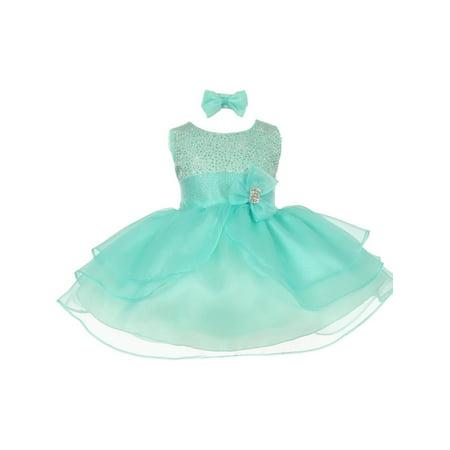 (Baby Girls Aqua Green Rhinestuds Bow Sash Flower Girl Headband Dress 6M)