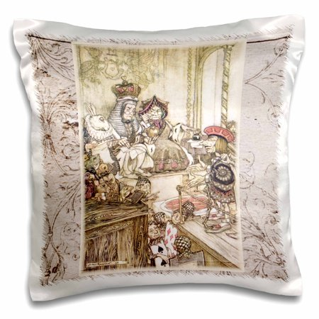 3dRose Queen and King of Hearts Alice in Wonderland Vintage - Pillow Case, 16 by 16-inch](Queen Of Hearts On Alice In Wonderland)