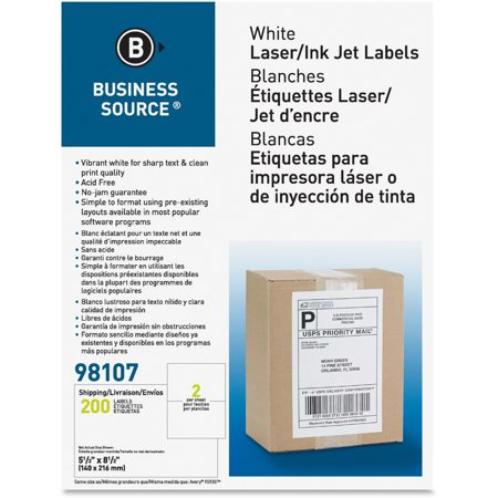 Business Source Premium White Mailing Labels   Internet Shipping  Bsn 98107