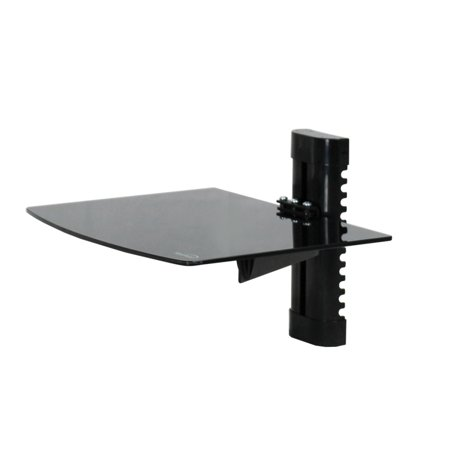 navepoint wall mount bracket medium glass floating shelf for dvd dvr vcr cable box receiver. Black Bedroom Furniture Sets. Home Design Ideas