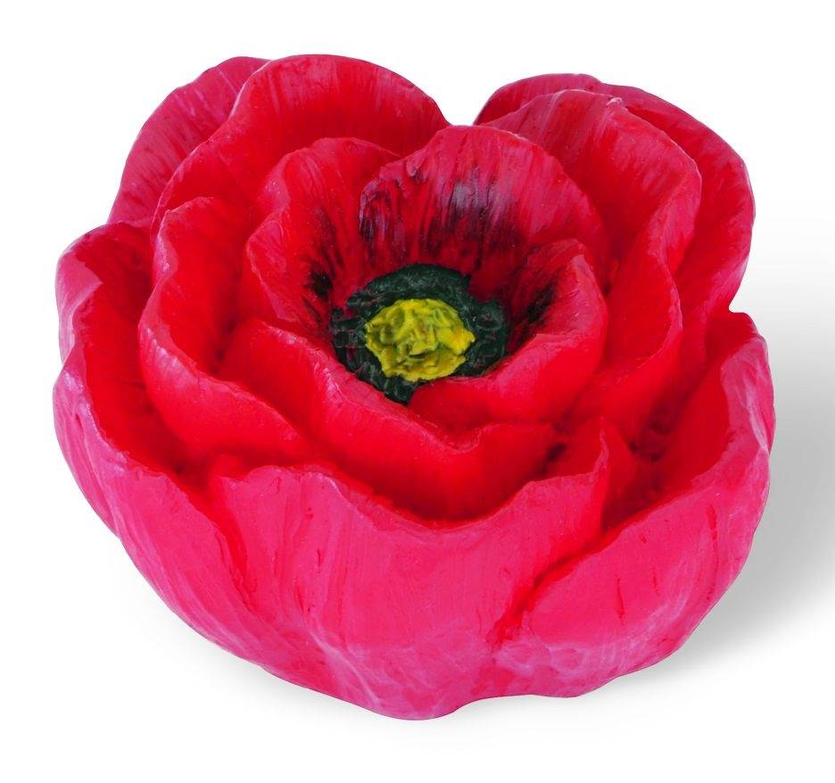 Flowers Flower Knob 50 mm. Dia. in Red & Yellow Poppy (Set of 10)