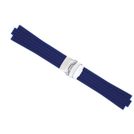 23MM 11MM RUBBER DIVER BAND STRAP BRACELET FOR ORIS TT2 F1 CHRONO NAVY BLUE 44R
