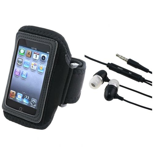 Insten Sport Running Gym Armband Case + Earbud 3.5mm Earphone For iPod touch 4 4th 3 3rd 2 2nd Gen