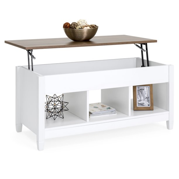Best Choice Products Modern Home Coffee Table Furniture w/ Hidden Storage and Lift Tabletop - White/Brown