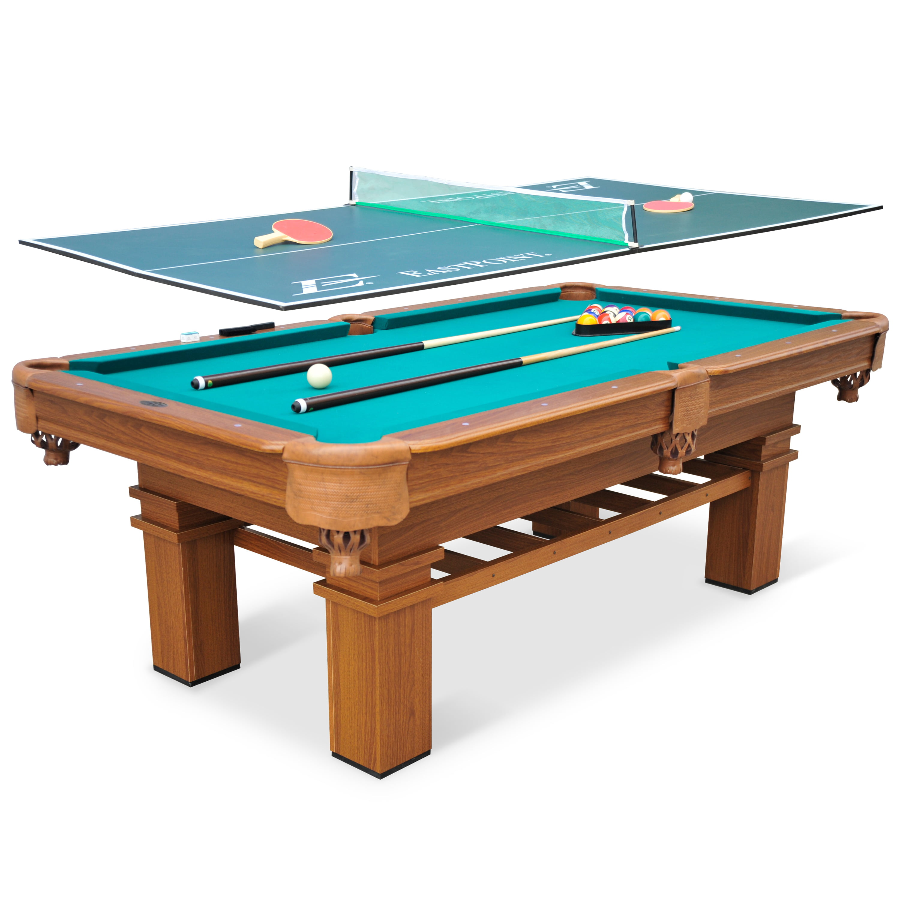 Elegant EastPoint Sports 87 Inch Sinclair Billiard Pool Table With Table Tennis Top