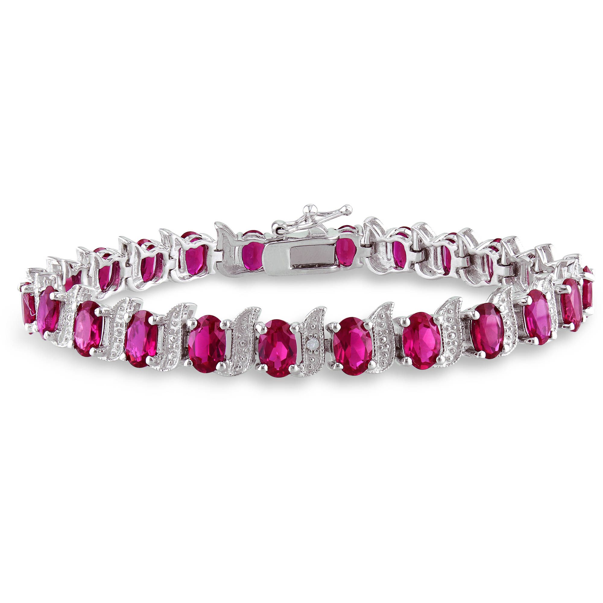 """Tangelo 18 Carat T.G.W. Created Ruby and Diamond Accent Sterling Silver Bracelet, 7"""" by Generic"""