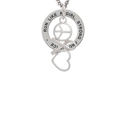 Peace Necklace (Peace Sign Ribbon Heart Run Like A Girl Affirmation Ring Necklace )