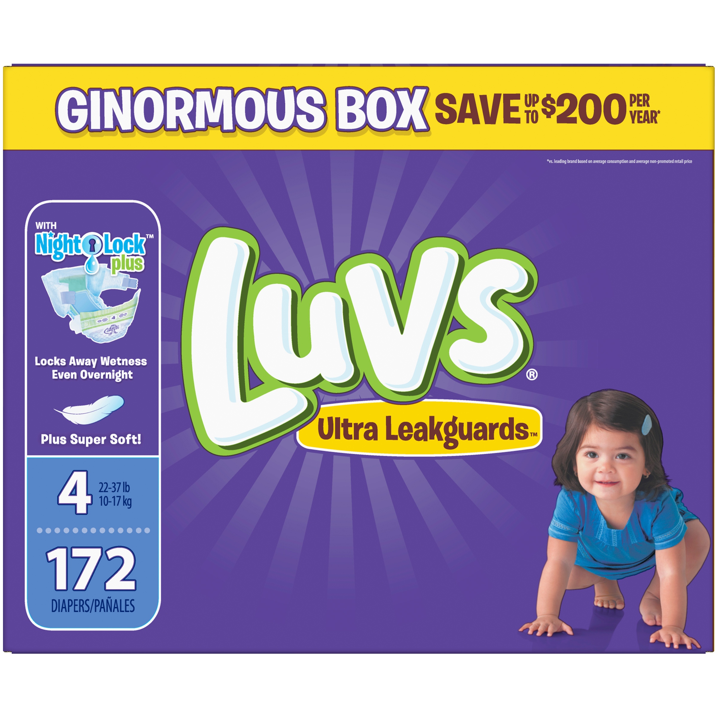 Luvs Ultra Leakguards Diapers, Size 4, 172 Count by Luvs