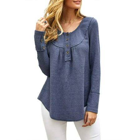Womens Waffle Knit Shirts Long Sleeve Tunic Button Up Blouse Casual Pullover Tops