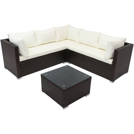Sunnydaze Port Laoise Outdoor Patio Furniture Sectional Sofa Set with Cushions, Rattan Balcony & Porch Conversation Seating ()
