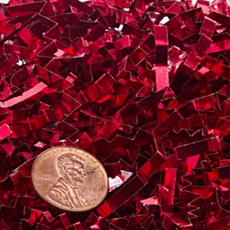 10# Red Crinkle Cut Metallic Shred by Paper Mart