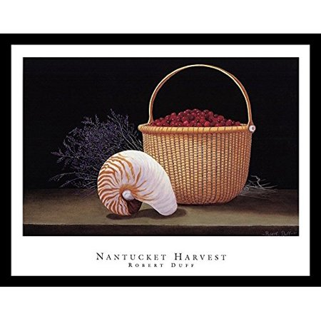 Nantucket Harvest - buyartforless FRAMED Nantucket Harvest by Robert Duff 28x22 Art Print Poster Still Life Painting Conch Shell Cranberry Basket and Purple Fowers