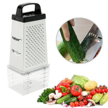Stainless Steel 4 Sided Cheese Grater Vegetable Cutter Slicer Multi Funtion With Container Box