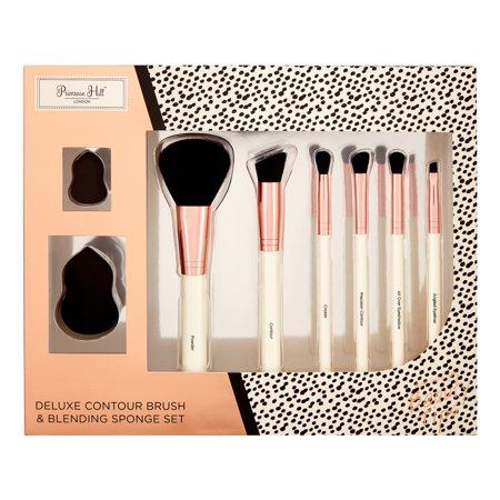 Contoured Headrest - ($70 Value) Primrose Hill Cosmetic Contour Brush & Blending Sponge Set, Rose Gold Dot