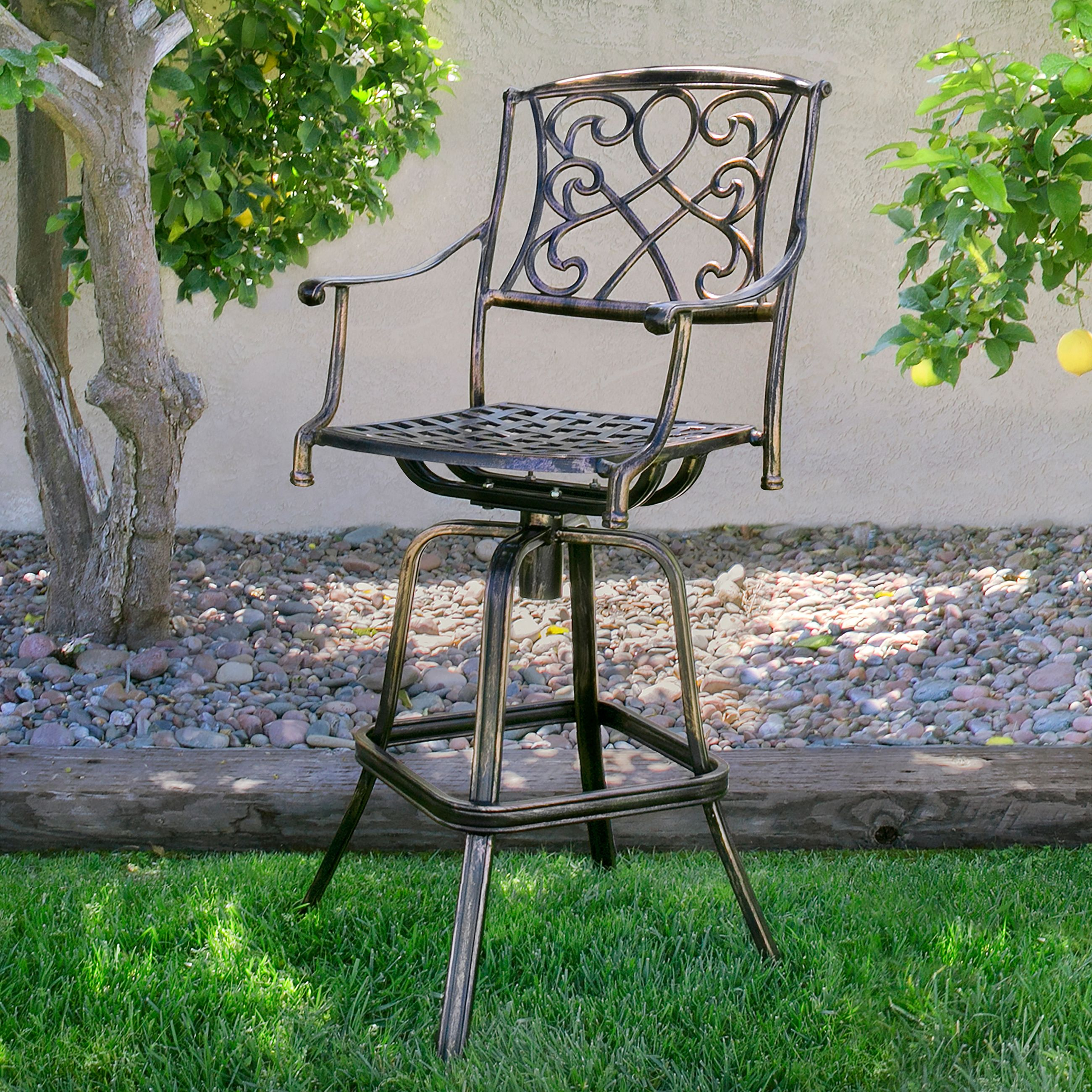 Best Choice Products Outdoor Cast Aluminum Swivel Bar Stool, Antique Copper Design