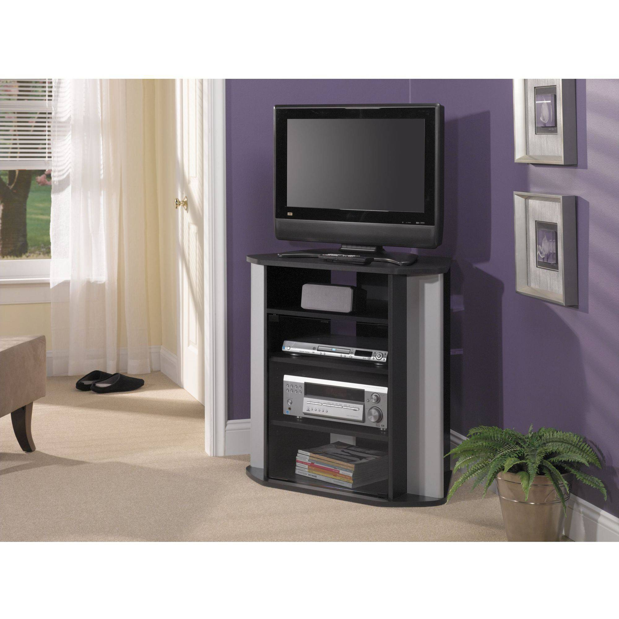 Bush Furniture Visions Tall Corner TV Stand in Black and Metallic