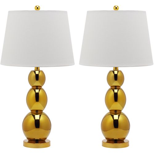 Safavieh LIT4089 Jayne 2 Light Accent Table Lamp with Empire Cotton Shade (Set o