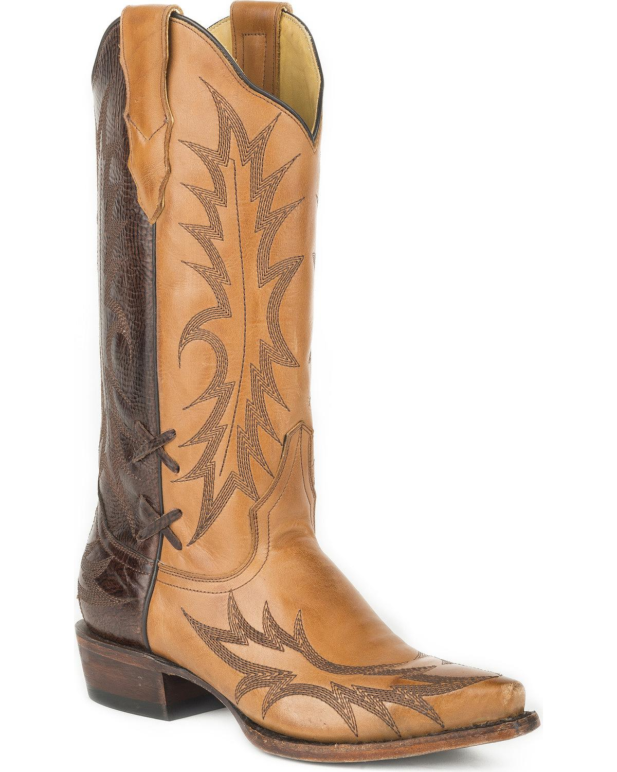Stetson Women's Quinn Two Tone Western Boot Snip Toe - 12-021-6105-1090 Br