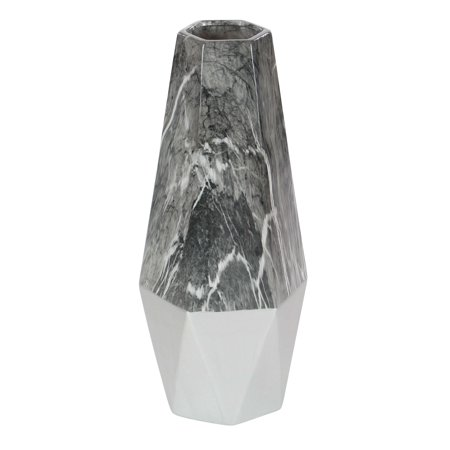 Decmode Contemporary 18 Inch Eye-Catching Geometric Shaped Ceramic Vase, Gray