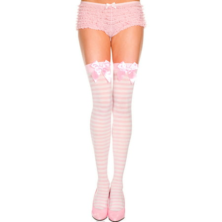 opaque striped thigh high with bow, light pink striped thigh high ()