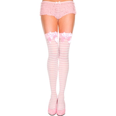 Black And White Striped Stockings (opaque striped thigh high with bow, light pink striped thigh)