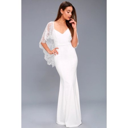 Formal Dress Shawls (Women White Lace Shawl Formal Dress Slim Fit Backless V Neck Elegance Long Prom)