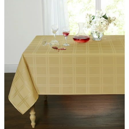 Spill Proof/Stain Resistant Plaid Tartan Fabric Tablecloth (60 in. W x 120 in. L, Gold) - Tartan Tablecloth