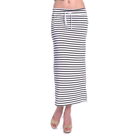 (Womens Casual Black and White Nautical Horizontal Stripes Pattern Maxi Skirt)