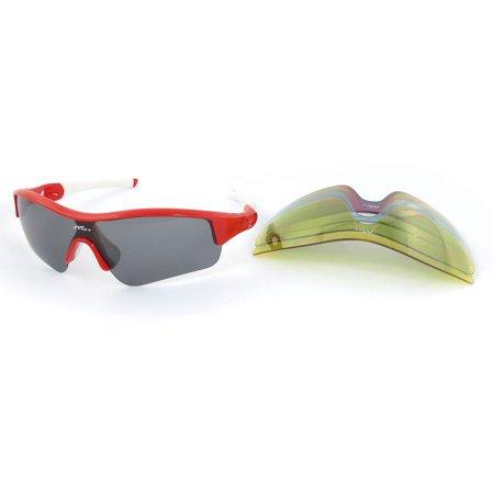 White Half Frame Glasses : White Red Half Frame Rubber Coated Arm Polarized ...