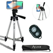 "Acuvar 50"" Inch Aluminum Camera Tripod with Universal Smartphone Mount + Bluetooth Wireless Remote Control Camera Shutter For all iPhone, Samsung and Most Smartphones"