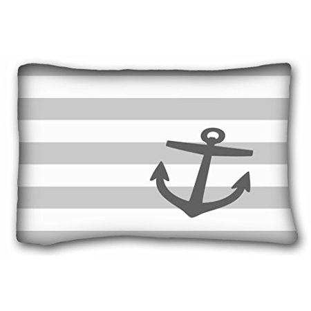 WinHome Stripe Pattern Pillowcases Gray And Charcoal Nautical Stripes And Cute Anchor Pillow Case Cases Cover Cushion Covers Sofa Size 20x30 Inches Two Side