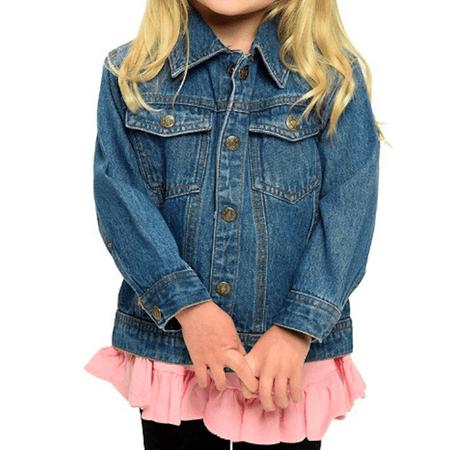 L C Boutique Unisex Kids 100% Cotton Medium Wash Denim Jean Jacket Size 6 Months to 10 Years