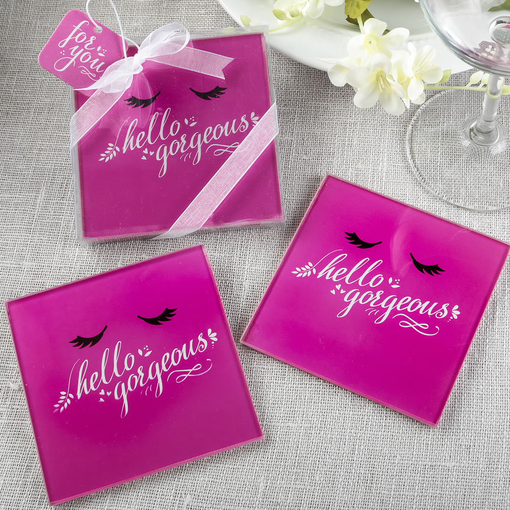 72 Hello Gorgeous glass Coasters set of 2 from fashioncraft