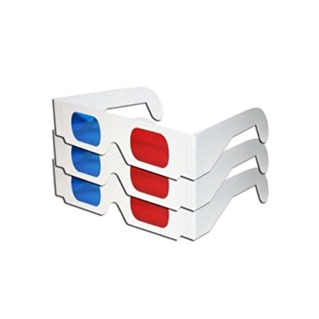 Red & Blue White Cardboard Glasses (3 Pairs) MADE IN US, White cardboard frames with temples for a low-cost solution of your RED & BLUE anaglyph needs By 3Dstereo Glasses](Cardboard For Sale)