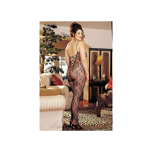 Shirley of Hollywood Floral Lace Body Stocking With Open Back X96621 Black