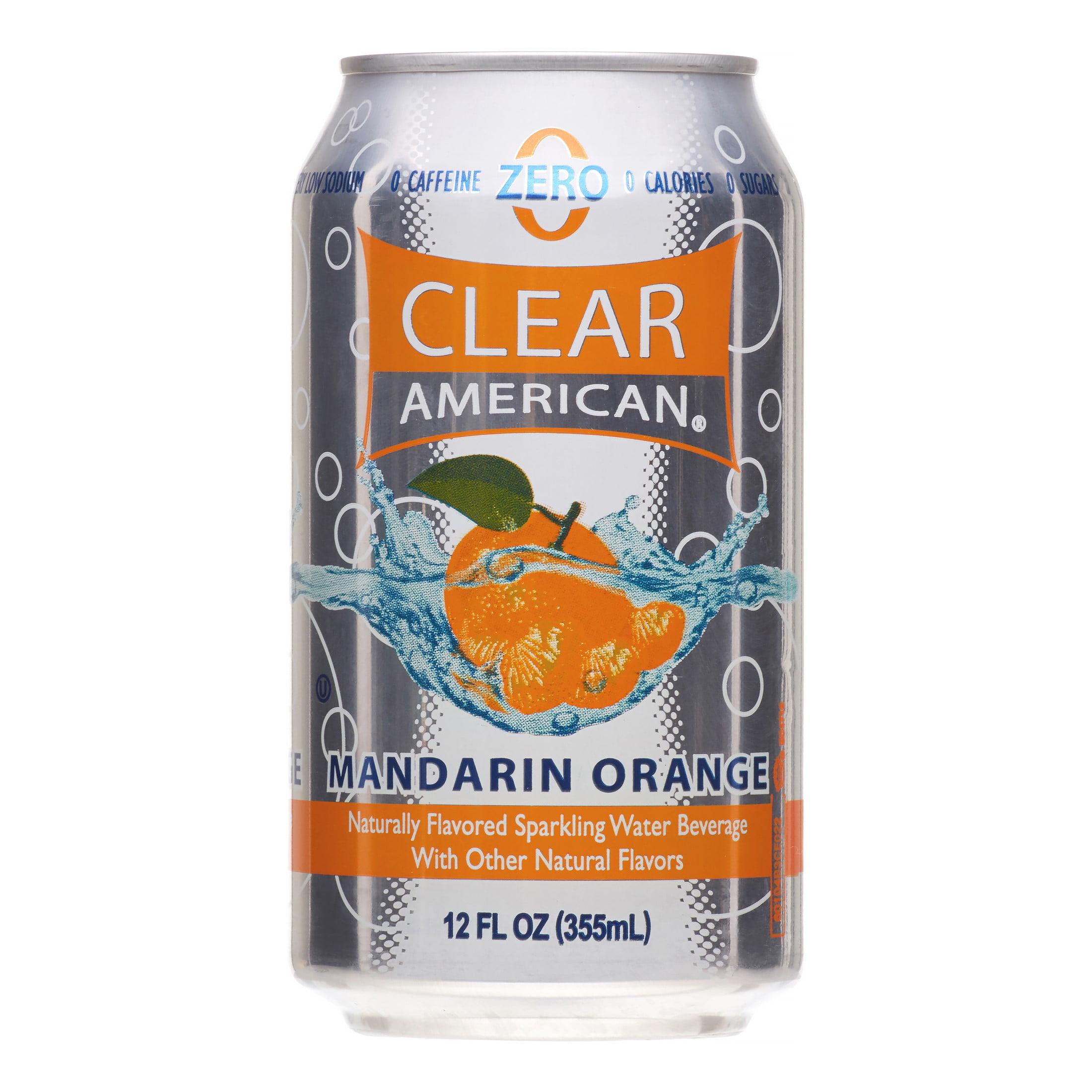 Clear American Sparkling Water, Mandarin Orange, 12 Fl Oz, 12 Count