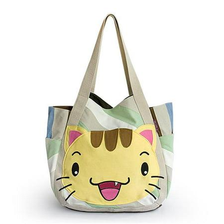 Kitty Meow Hand-appliqued Fabric Art Shoulder Tote Bag / Shopper Bag - image 1 of 1