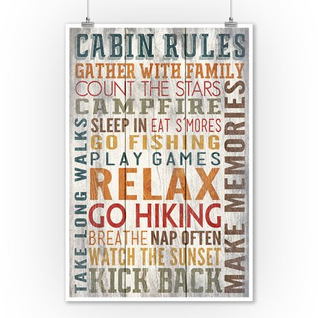 Cabin Rules - Rustic Typography - Lantern Press Artwork (9x12 Art Print, Wall Decor Travel Poster) ()