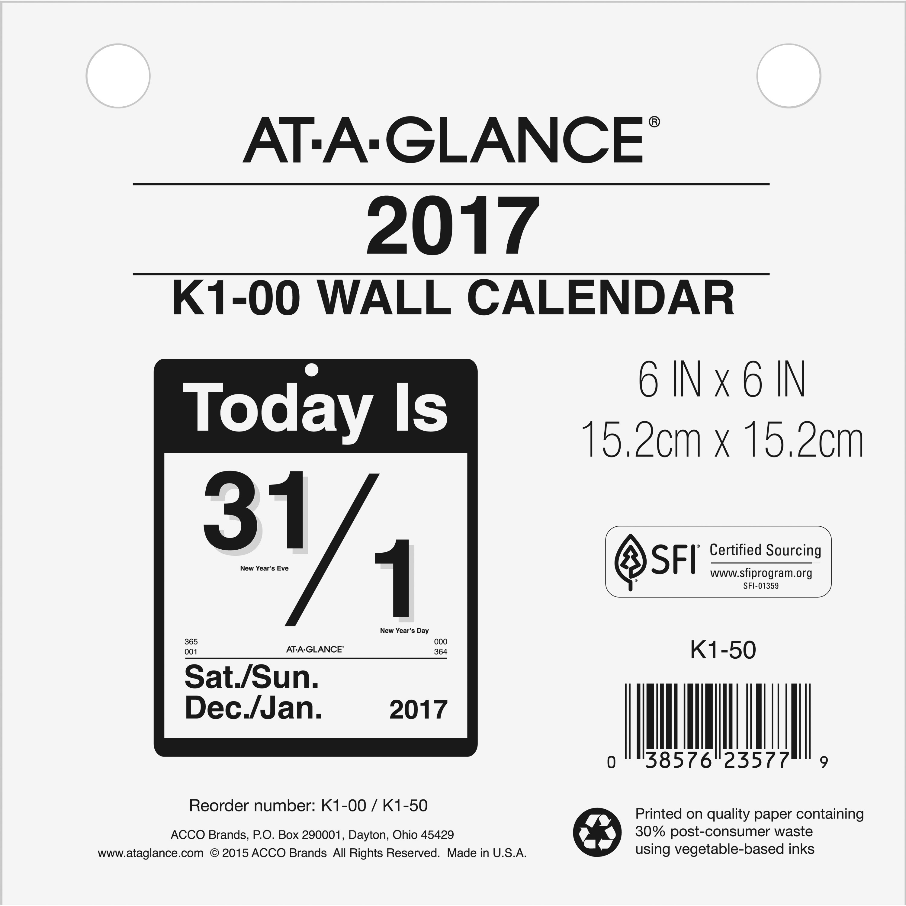 at a glance today is daily wall calendar refill 6 x 6 white