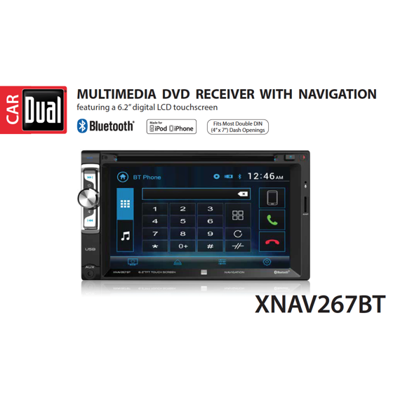Dual electronics xnav267bt 62 inch led backlit lcd multimedia touch dual electronics xnav267bt 62 inch led backlit lcd multimedia touch screen double din car stereo with built in navigation bluetooth iplug smart app fandeluxe Image collections
