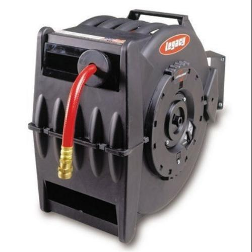 "Legacy Manufacturing L8335 Levelwind Retractable Hose Reel For Air Or Water With 1/2"" Id X 50' Hose"