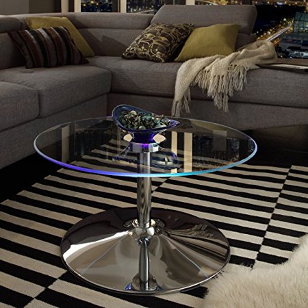ModHaus Living Modern Style LED Accent Tempered Glass Top Round Shaped Table-Caley Cocktail Coffee Table | Chrome Metal Frame, Living Room Decor - Includes Pen