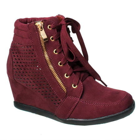 Women High Top Wedge Heel Sneakers Platform Lace Up Shoes Ankle Bootie (FREE - Girls Sparkly Red Shoes