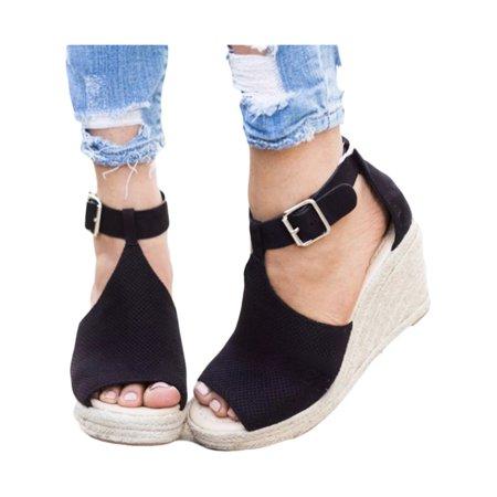 Women Espadrilles Platform Wedge Sandals Buckle Peep Toe Ankle Strap Casual Shoes